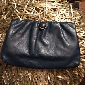 Handbags - Navy leather clutch